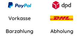 Paypal, Vorkasse, Barzahlung, dpd, DHL, Abholung